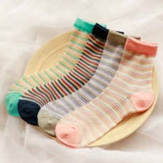 Small stripe women crew socks