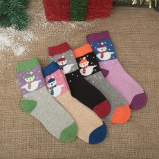 Christmas snowman wool crew socks for women