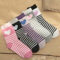 Heart lady wool crew socks